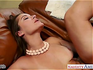 beautiful wifey Dani Daniels takes his ginormous sausage in her furry twat