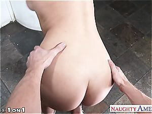 slender huge-boobed housewife Natalia Starr take manstick in point of view