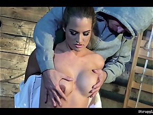 Nicole Vice chair-tied mouth-stuffed unclothed stimulated