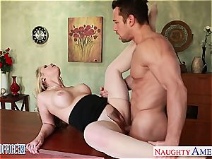 huge-chested ash-blonde Sarah Vandella ravaging